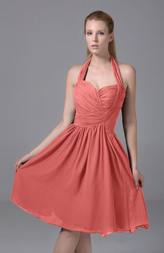 Coral Modest Halter Sleeveless Chiffon Knee Length Ruching Party Dresses