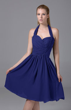 Electric Blue Modest Halter Sleeveless Chiffon Knee Length Ruching Party Dresses