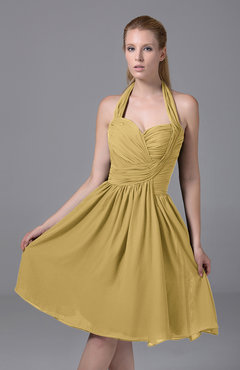 Gold Modest Halter Sleeveless Chiffon Knee Length Ruching Party Dresses