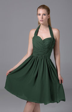 Hunter Green Modest Halter Sleeveless Chiffon Knee Length Ruching Party Dresses