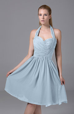 Ice Blue Modest Halter Sleeveless Chiffon Knee Length Ruching Party Dresses