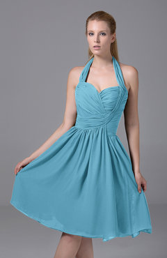 Light Blue Modest Halter Sleeveless Chiffon Knee Length Ruching Party Dresses