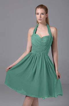 Mint Green Modest Halter Sleeveless Chiffon Knee Length Ruching Party Dresses