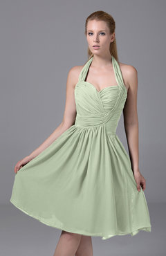 Pale Green Modest Halter Sleeveless Chiffon Knee Length Ruching Party Dresses