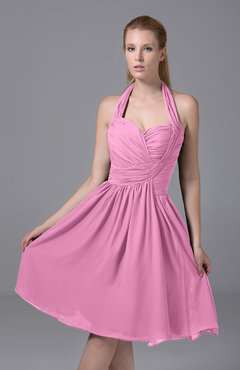 Pink Modest Halter Sleeveless Chiffon Knee Length Ruching Party Dresses