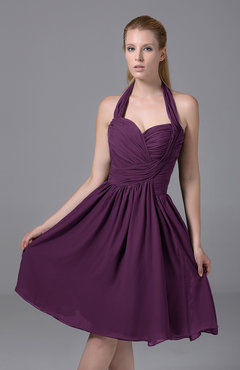 Raspberry Modest Halter Sleeveless Chiffon Knee Length Ruching Party Dresses
