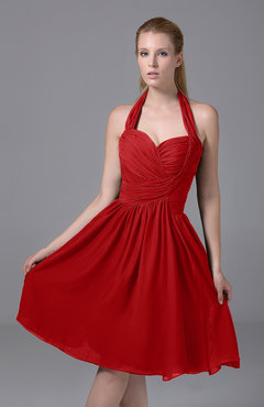 Red Modest Halter Sleeveless Chiffon Knee Length Ruching Party Dresses