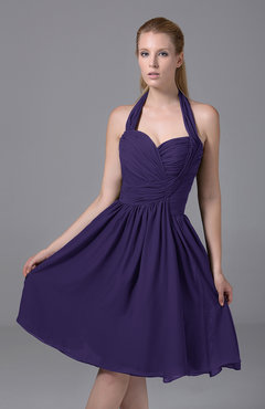 Royal Purple Modest Halter Sleeveless Chiffon Knee Length Ruching Party Dresses