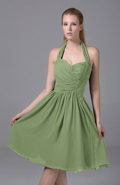 Sage Green Modest Halter Sleeveless Chiffon Knee Length Ruching Party Dresses