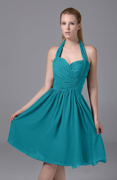 Teal Modest Halter Sleeveless Chiffon Knee Length Ruching Party Dresses