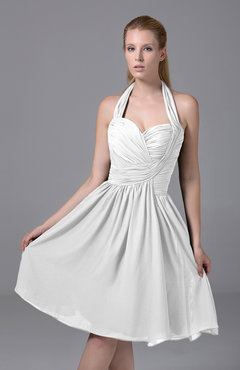 White Modest Halter Sleeveless Chiffon Knee Length Ruching Party Dresses