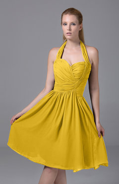 Yellow Modest Halter Sleeveless Chiffon Knee Length Ruching Party Dresses