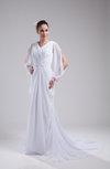 Modest Garden V-neck Zipper Court Train Ruching Bridal Gowns