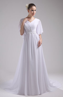 White Vintage Church V-neck Half Length Sleeve Zipper Court Train Beaded Bridal Gowns