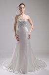 Elegant Garden One Shoulder Sleeveless Backless Silk Like Satin Court Train Bridal Gowns