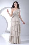 Romantic One Shoulder Sleeveless Floor Length Tiered Bridesmaid Dresses