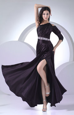 Elegant Column 3/4 Length Sleeve Half Backless Silk Like Satin Ruching Evening Dresses