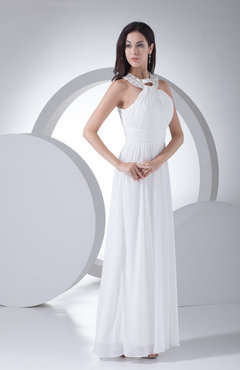 White Modest Hall Column Halter Sleeveless Zipper Paillette Bridal Gowns