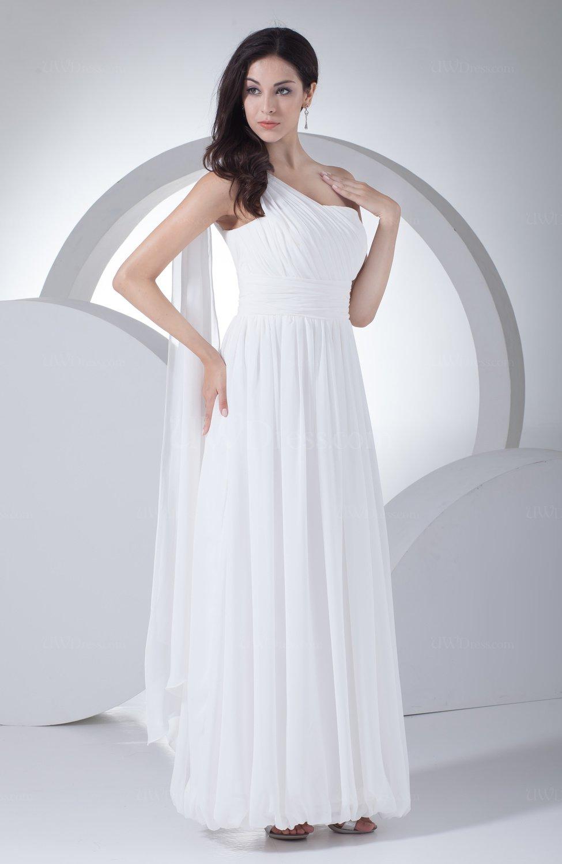 White modest hall a line one shoulder ankle length ruching for Medium length wedding dresses