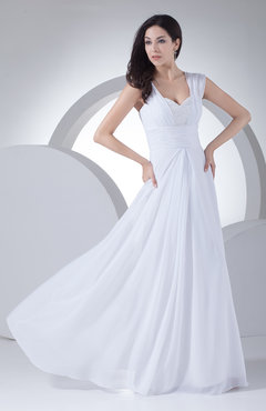 White Traditional Outdoor Sheath Chiffon Floor Length Beaded Bridal Gowns