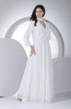 Modest Destination A-line Chiffon Floor Length Plainness Bridal Gowns