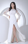 Elegant Outdoor Sheath Jewel Long Sleeve Chiffon Sweep Train Bridal Gowns