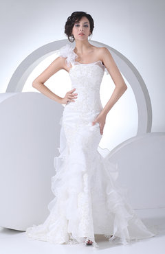 White Modest Church Asymmetric Neckline Sleeveless Lace up Ruffles Bridal Gowns