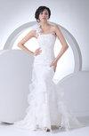 Modest Church Asymmetric Neckline Sleeveless Lace up Ruffles Bridal Gowns