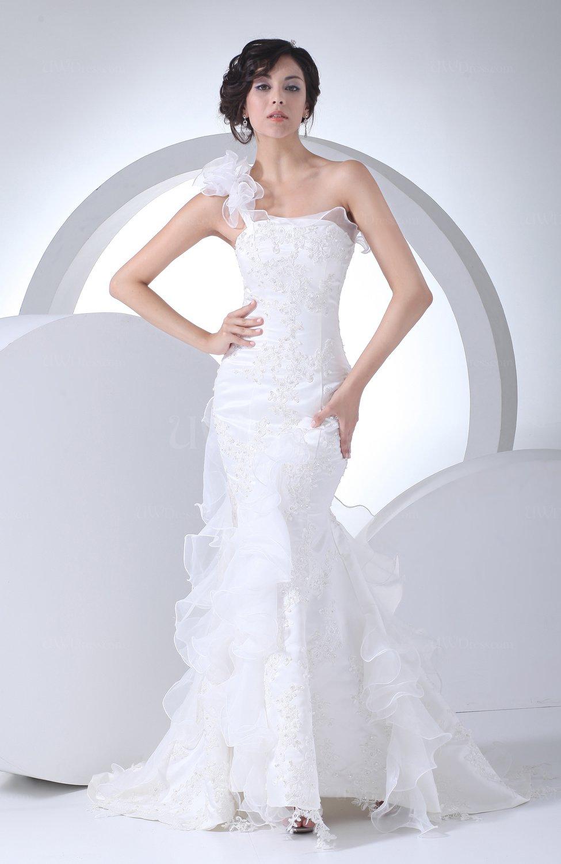 Modest Ruffle Wedding Dresses : White modest church asymmetric neckline sleeveless lace up