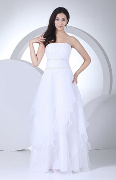 White Modest Destination A-line Strapless Backless Paillette Bridal Gowns