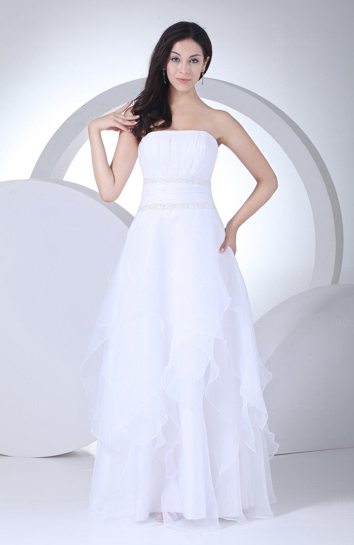 White modest destination a line strapless backless for Strapless backless wedding dress