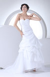 Cute Garden Sweetheart Sleeveless Backless Taffeta Sweep Train Bridal Gowns