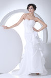 Cute Outdoor Sweetheart Sleeveless Taffeta Ruching Bridal Gowns