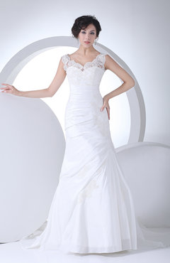 White Sexy Church A-line Sheer Sleeveless Zipper Taffeta Bridal Gowns