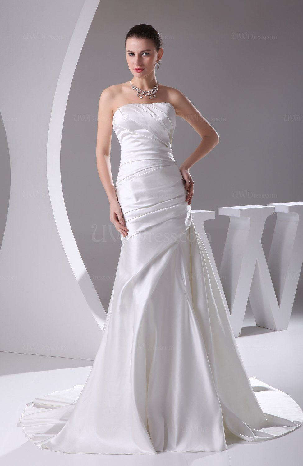 Modern outdoor strapless backless satin ruching bridal for Backless satin wedding dress