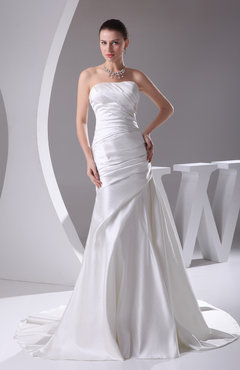 Modern Outdoor Strapless Backless Satin Ruching Bridal Gowns