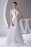 Modern Garden A-line Sleeveless Zip up Satin Brush Train Bridal Gowns