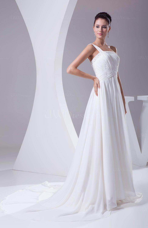 Modest church sleeveless backless chiffon ruching bridal for Backless chiffon wedding dress