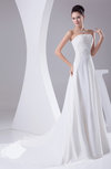 Classic Hall A-line Strapless Chiffon Chapel Train Ruching Bridal Gowns