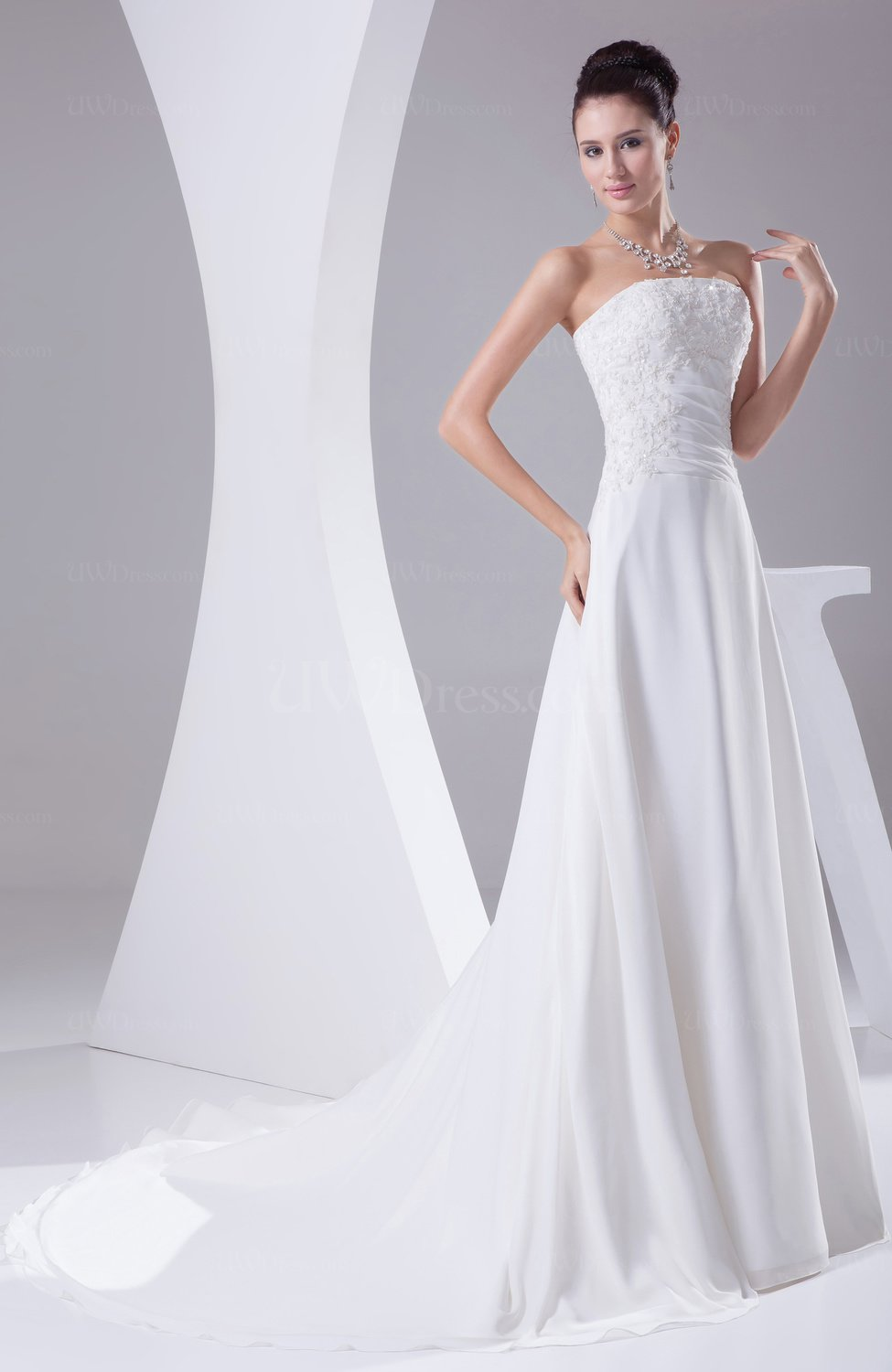 White classic hall a line strapless chiffon chapel train for A line wedding dress with ruching