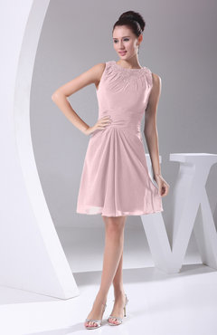 Blush Modest A-line Bateau Sleeveless Chiffon Party Dresses