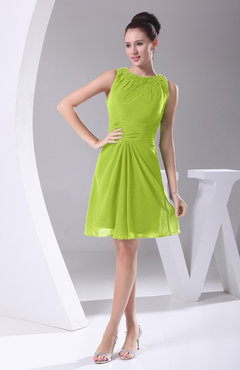 Bright Green Modest A-line Bateau Sleeveless Chiffon Party Dresses
