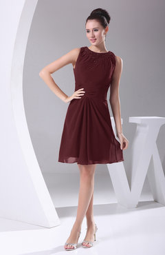 Burgundy Modest A-line Bateau Sleeveless Chiffon Party Dresses