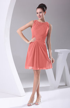 Coral Modest A-line Bateau Sleeveless Chiffon Party Dresses