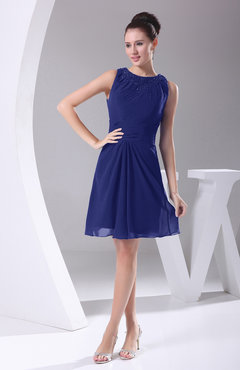 Electric Blue Modest A-line Bateau Sleeveless Chiffon Party Dresses