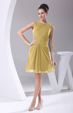 Gold Modest A-line Bateau Sleeveless Chiffon Party Dresses