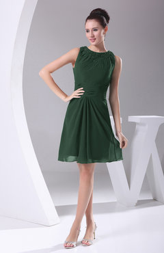 Hunter Green Modest A-line Bateau Sleeveless Chiffon Party Dresses