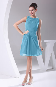 Light Blue Modest A-line Bateau Sleeveless Chiffon Party Dresses