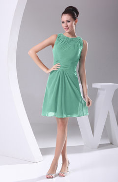 Mint Green Modest A-line Bateau Sleeveless Chiffon Party Dresses