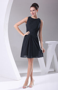 Navy Blue Modest A-line Bateau Sleeveless Chiffon Party Dresses